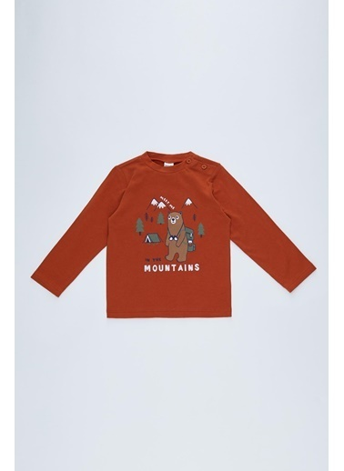 DeFacto Erkek Bebek Baskılı Sweatshirt Oranj